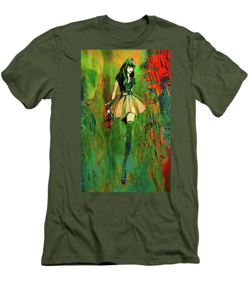 Men's T-Shirt (Slim Fit) featuring the digital art Grunge Doll by Greg Sharpe