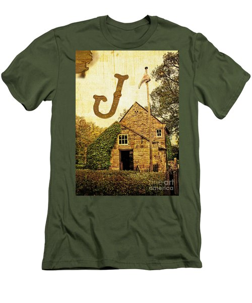 Grungy Melbourne Australia Alphabet Series Letter J Captain Jame Men's T-Shirt (Athletic Fit)