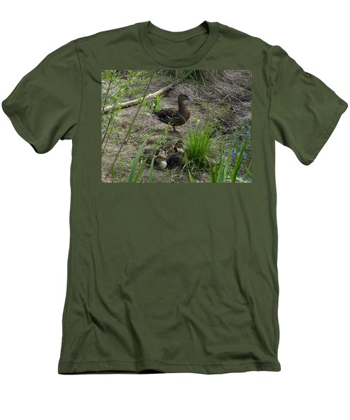 Men's T-Shirt (Slim Fit) featuring the photograph Guarding The Ducklings by Donald C Morgan