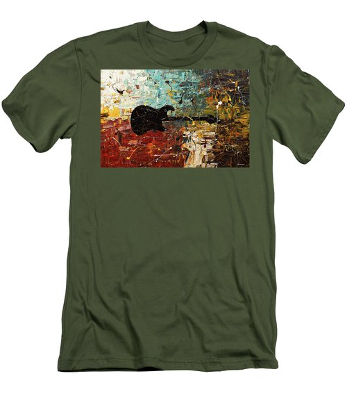Men's T-Shirt (Slim Fit) featuring the painting Guitar Story by Carmen Guedez
