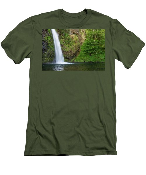 Men's T-Shirt (Slim Fit) featuring the photograph Gushing Horsetail Falls by Greg Nyquist