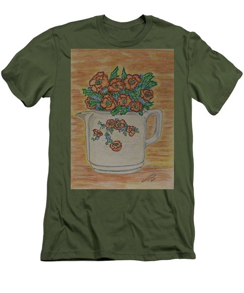 Men's T-Shirt (Slim Fit) featuring the painting Hall China Orange Poppy And Poppies by Kathy Marrs Chandler