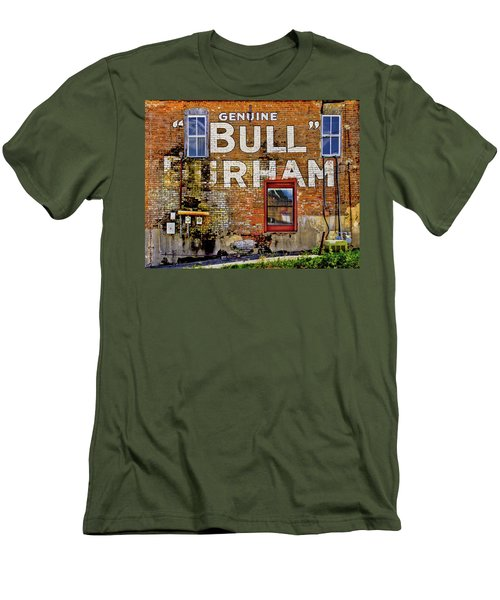 Men's T-Shirt (Slim Fit) featuring the photograph Handpainted Sign On Brick Wall by David and Carol Kelly