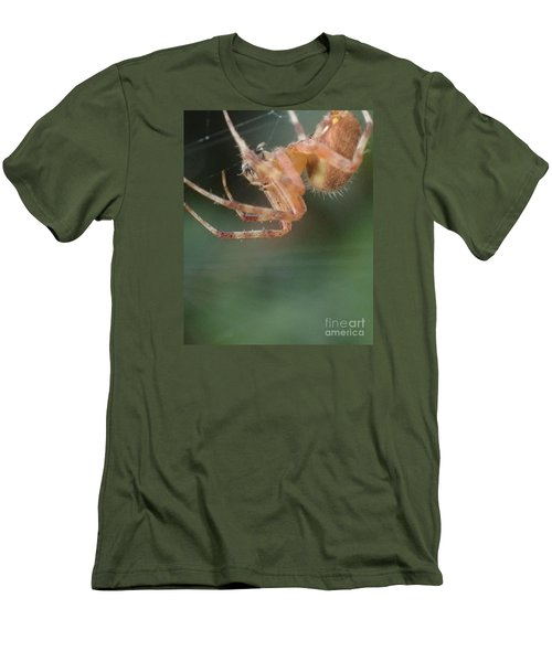 Men's T-Shirt (Slim Fit) featuring the photograph Hanging Spider by Christina Verdgeline