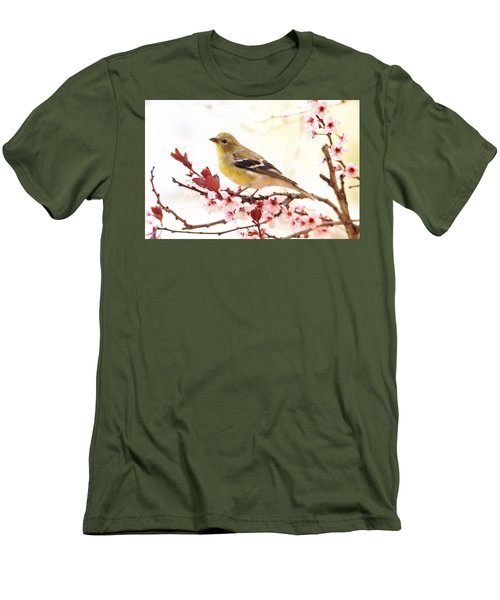 Happy Goldfinch Men's T-Shirt (Slim Fit) by Trina Ansel