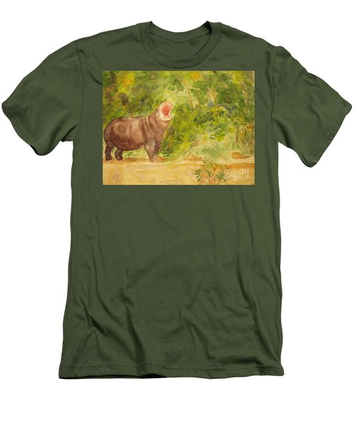 Men's T-Shirt (Slim Fit) featuring the painting Happy Hippo by Vicki  Housel