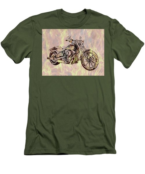 Men's T-Shirt (Slim Fit) featuring the mixed media Harley Motorcycle On Flames by Dan Sproul