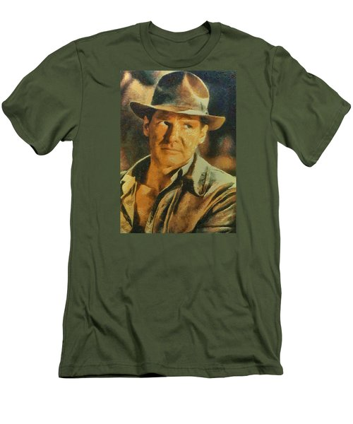 Men's T-Shirt (Slim Fit) featuring the digital art Harrison Ford As Indiana Jones by Charmaine Zoe