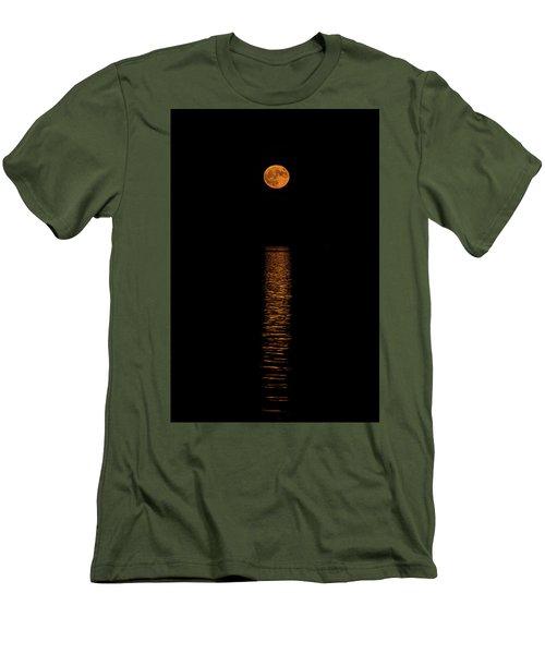 Men's T-Shirt (Slim Fit) featuring the photograph Harvest Moonrise by Paul Freidlund