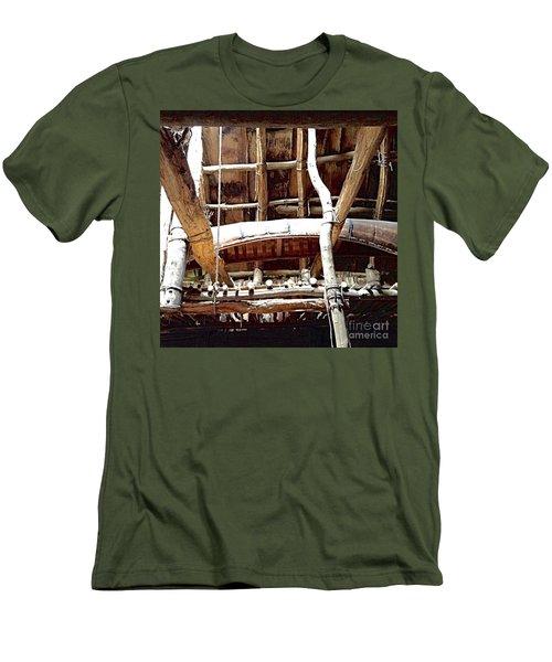 Haudenosaunee Longhouse  Men's T-Shirt (Slim Fit) by Ellen Levinson