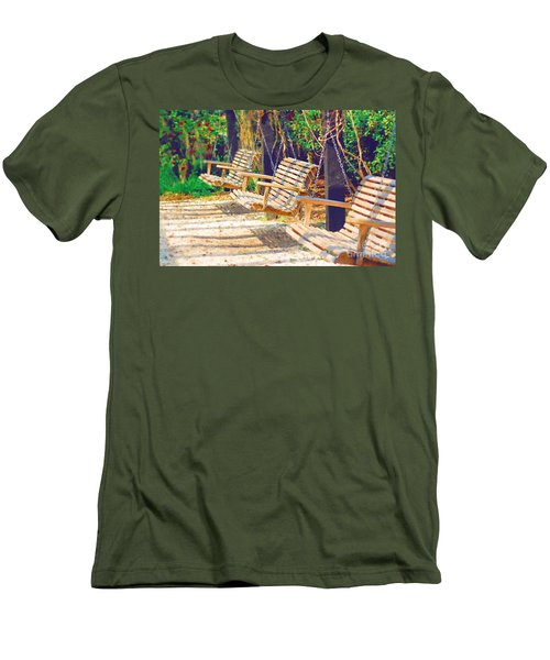 Men's T-Shirt (Slim Fit) featuring the photograph Have A Seat Relax by Donna Bentley