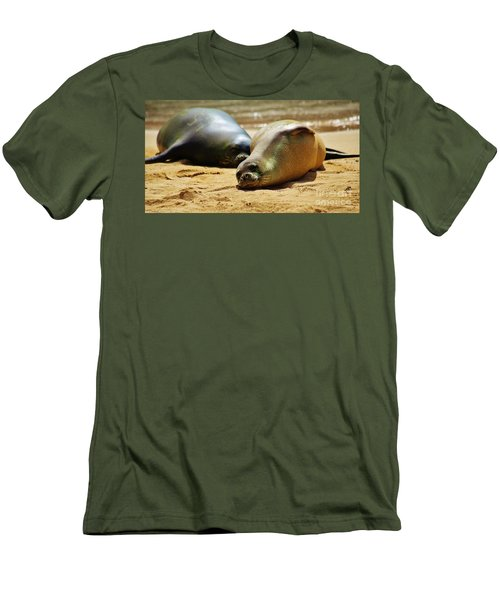 Men's T-Shirt (Slim Fit) featuring the photograph Hawaiian Monk Seals by Craig Wood
