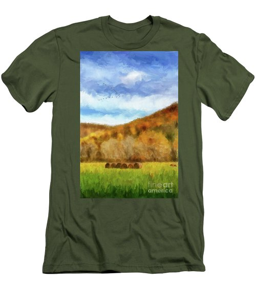 Men's T-Shirt (Slim Fit) featuring the photograph Hay Bales by Lois Bryan