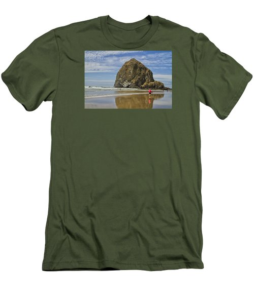 Men's T-Shirt (Slim Fit) featuring the photograph Haystack Rock 0258 by Tom Kelly