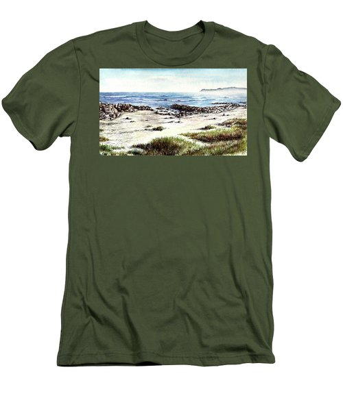 Men's T-Shirt (Slim Fit) featuring the painting Hazy Coastline by Heidi Kriel