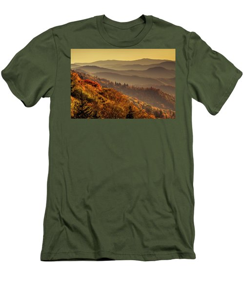 Hazy Sunny Layers In The Smoky Mountains Men's T-Shirt (Slim Fit) by Teri Virbickis