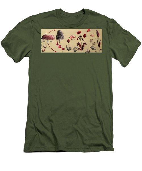 Heart Cottage Red 3 Men's T-Shirt (Slim Fit) by Kathy Spall