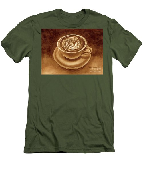 Men's T-Shirt (Slim Fit) featuring the painting Heart Latte by Hailey E Herrera