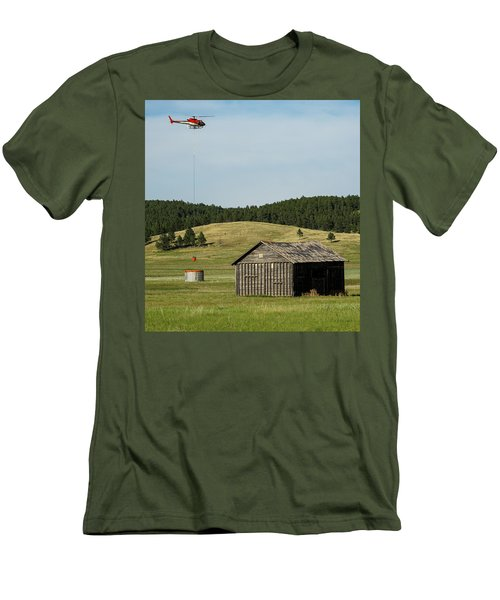Helicopter Dips Water At Heliwell Men's T-Shirt (Slim Fit) by Bill Gabbert