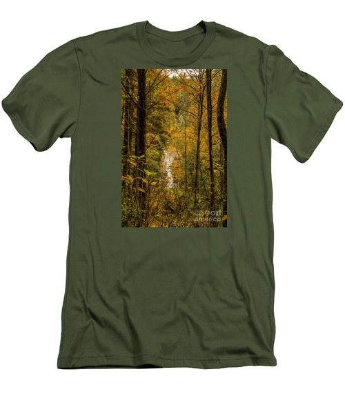 Men's T-Shirt (Slim Fit) featuring the photograph Helton Falls Through The Leaves by Barbara Bowen