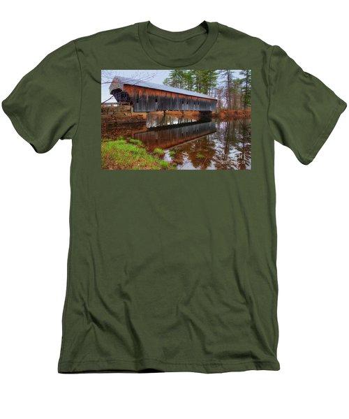 Hemlock Covered Bridge Fryeburg Maine Men's T-Shirt (Athletic Fit)