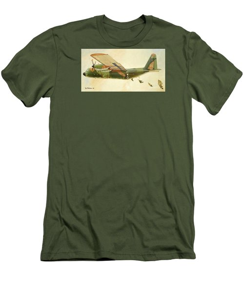 Men's T-Shirt (Slim Fit) featuring the painting Hercules Paratroop Drop by Paul Clinkunbroomer