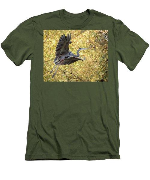 Heron In Flight Men's T-Shirt (Slim Fit) by Keith Boone