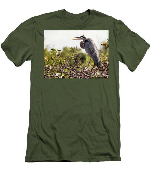 Heron In Nest Men's T-Shirt (Slim Fit) by Jim Gillen