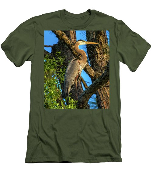 Heron In The Pine Tree Men's T-Shirt (Athletic Fit)