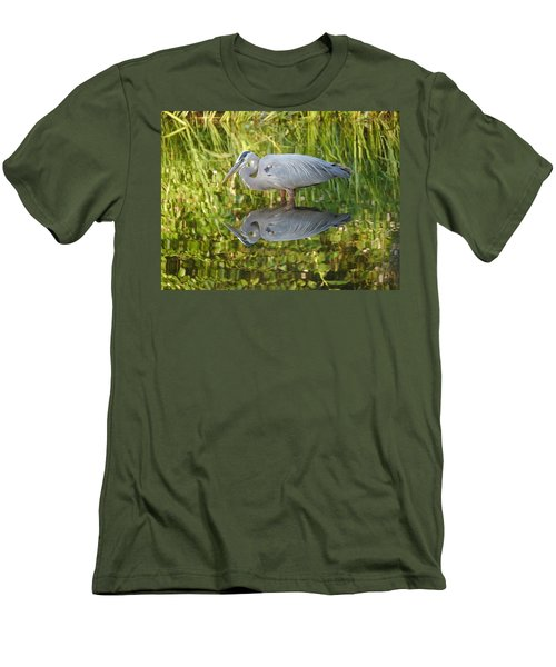 Heron's Reflection Men's T-Shirt (Slim Fit) by Jane Ford
