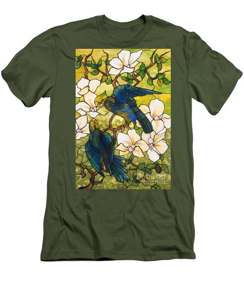 Hibiscus And Parrots Men's T-Shirt (Slim Fit) by Louis Comfort Tiffany