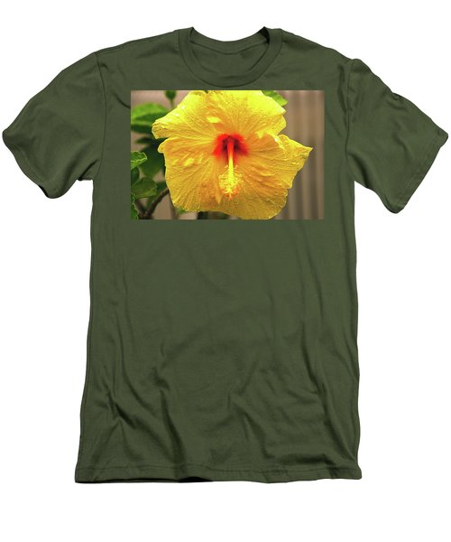 Hibiscus Flower After The Rain Men's T-Shirt (Slim Fit) by Michael Courtney
