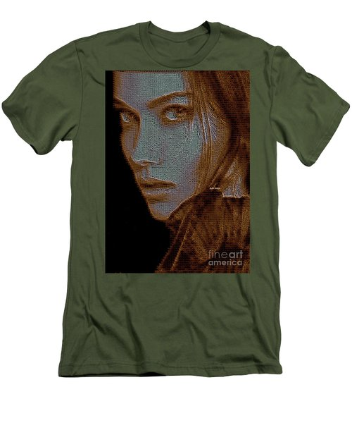 Men's T-Shirt (Athletic Fit) featuring the digital art Hidden Face In Sepia by Rafael Salazar