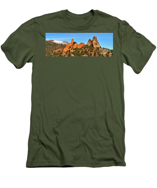 Men's T-Shirt (Slim Fit) featuring the photograph High Point Panorama At Garden Of The Gods by Adam Jewell