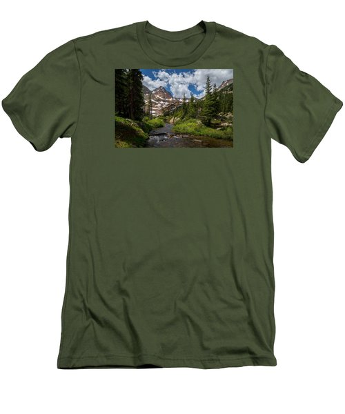 Hiking Into A High Alpine Lake Men's T-Shirt (Slim Fit) by Michael J Bauer