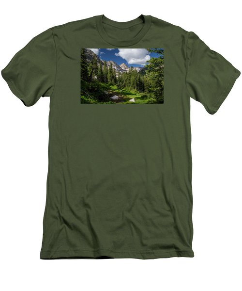 Hiking Into The Gore Range Mountains Men's T-Shirt (Slim Fit) by Michael J Bauer