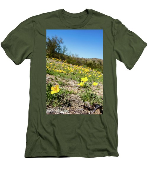 Men's T-Shirt (Slim Fit) featuring the photograph Hillside Flowers by Ed Cilley