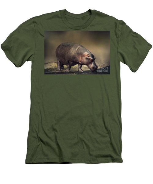 Men's T-Shirt (Slim Fit) featuring the photograph Hippo by Charuhas Images