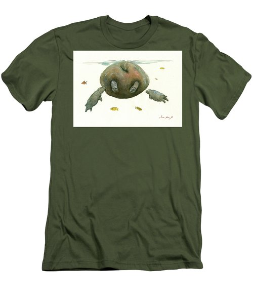 Hippo Mom With Baby Men's T-Shirt (Athletic Fit)