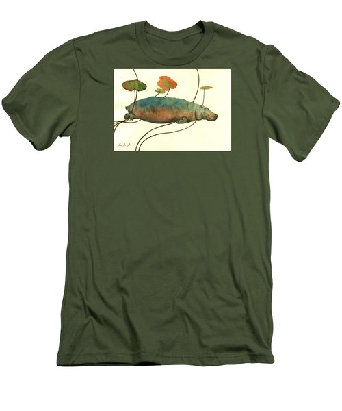 Hippo Swimming With Water Lilies Men's T-Shirt (Slim Fit) by Juan  Bosco