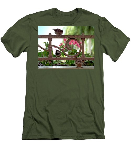 His Eye Is On The Sparrow Men's T-Shirt (Slim Fit) by Marie Hicks