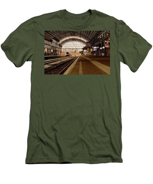 Historic Railway Station In Haarlem The Netherland Men's T-Shirt (Slim Fit) by Yvon van der Wijk
