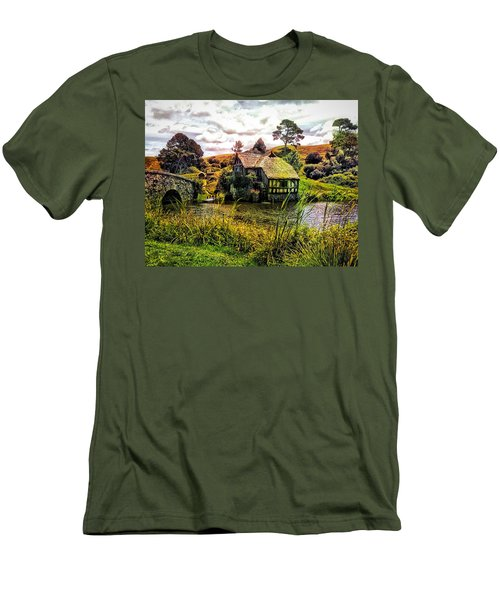 Men's T-Shirt (Slim Fit) featuring the photograph Hobbiton Mill And Bridge by Kathy Kelly