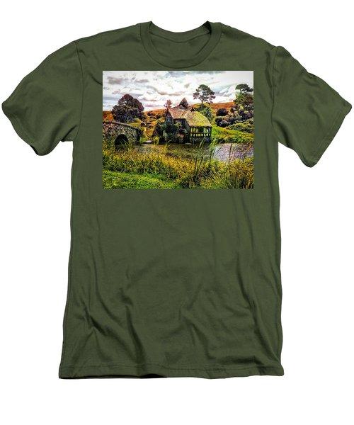 Hobbiton Mill And Bridge Men's T-Shirt (Slim Fit) by Kathy Kelly