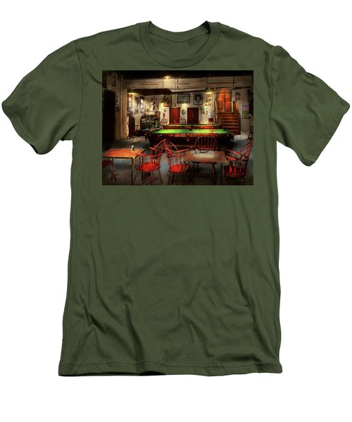 Men's T-Shirt (Slim Fit) featuring the photograph Hobby - Pool - The Billiards Club 1915 by Mike Savad