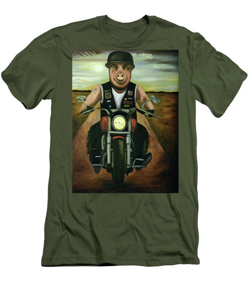 Men's T-Shirt (Slim Fit) featuring the painting Hog Wild by Leah Saulnier The Painting Maniac