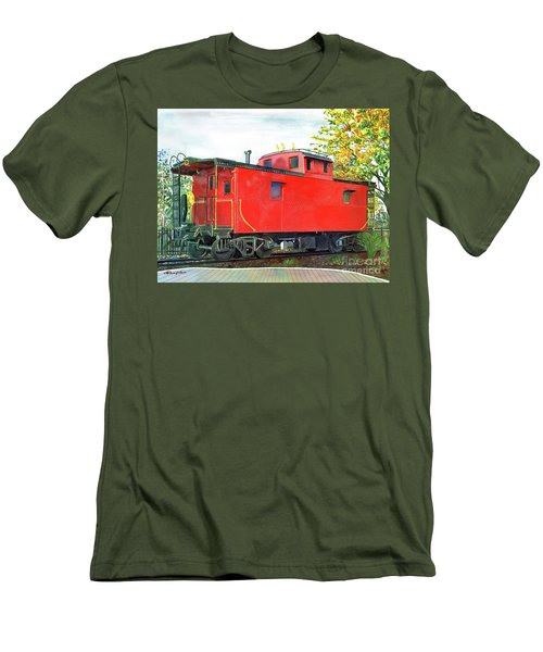 Holland Michigan Caboose Men's T-Shirt (Slim Fit) by LeAnne Sowa