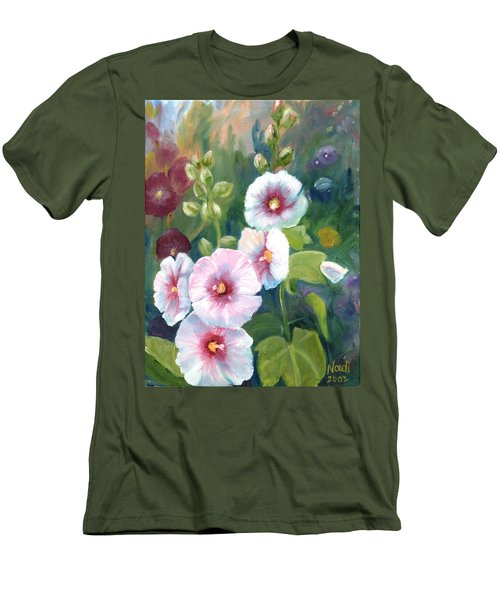 Men's T-Shirt (Slim Fit) featuring the painting Hollyhocks by Renate Nadi Wesley
