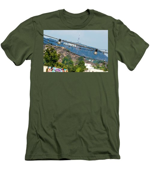 Men's T-Shirt (Slim Fit) featuring the photograph Hollywood Sign On The Hill 1 by Micah May