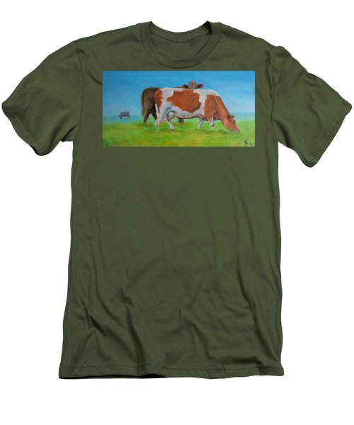Holstein Friesian Cow And Brown Cow Men's T-Shirt (Athletic Fit)